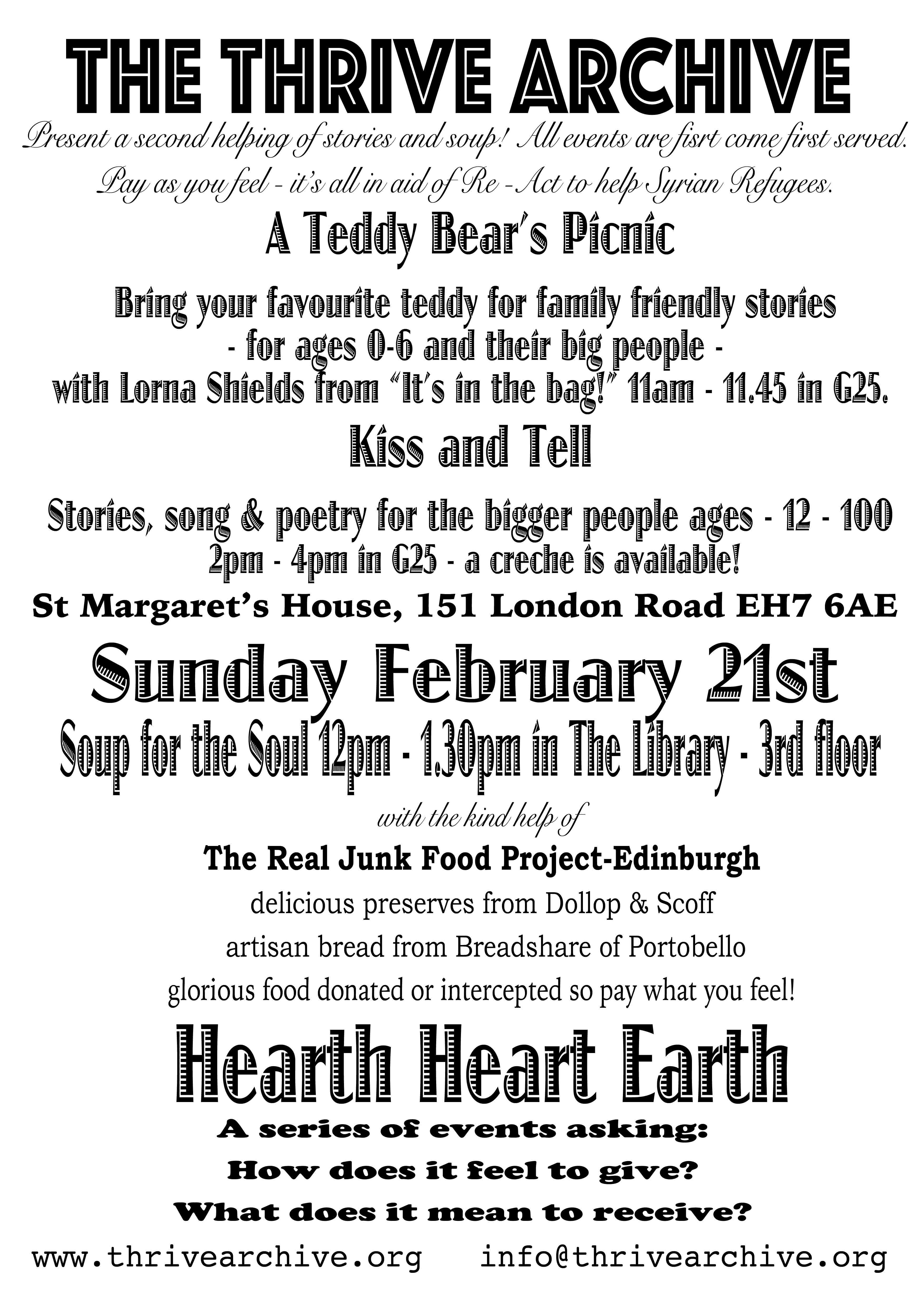 Stories, soup and song Sunday 21st February 2016